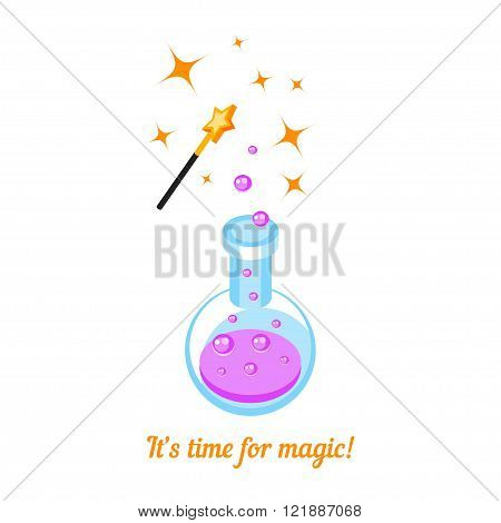 Isometric icons magic wand and laboratory flask isolated on white background. 3d icon magic wand and test tube with pink potion. T-shirt design. Vector illustration.