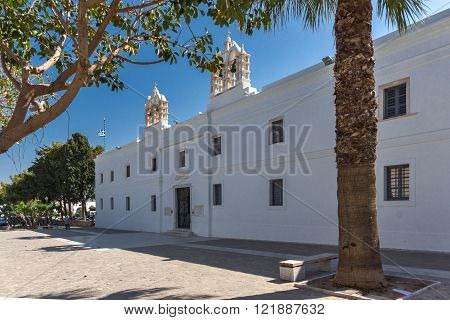 Frontal view of Church of Panagia Ekatontapiliani in Parikia, Paros island, Cyclades, Greece