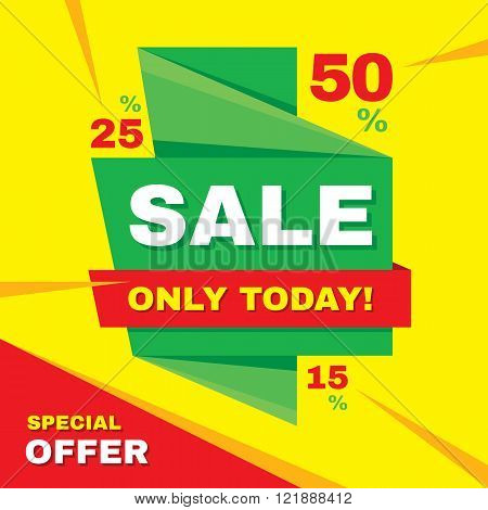 Sale abstract vector origami banner - special offer 50% off. Sale vector banner. Sale abstract background. Super big sale design layout. Origami discount banner. Only today. Sale banner template.