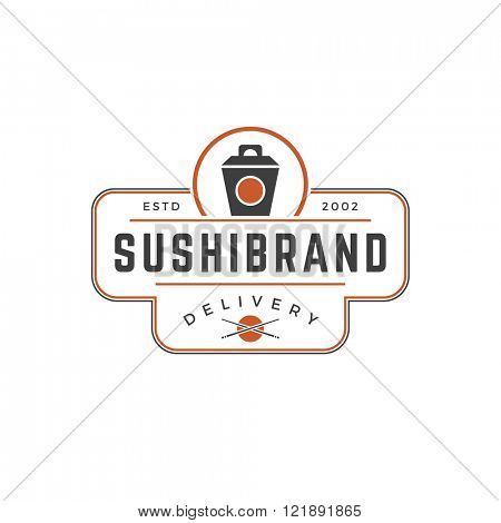 Sushi Shop Logo Template. Vector object and Icons for Sushi Labels or Badges,  Japanese Food Logos Design, Emblems Graphics. Noodles Box Silhouette, Japan Restaurant Logo.