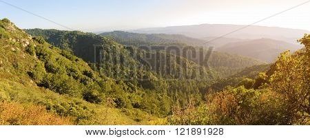 Santa Cruz Mountains, view from Castle Rock hiking trail, Northern California.