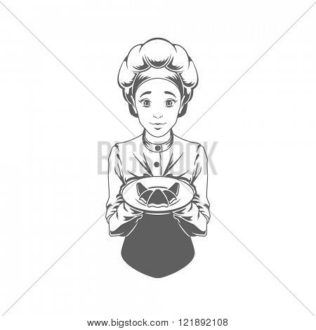 Chef Woman Giving Food Logo Vector Illustration. Chef Silhouette Isolated On White Background. Vector object for Labels and Badges, Logos Design. Restaurant Logo, Chef Logo, Hat Symbol.