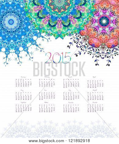 Vector pocket calendar 2015. Ornament watercolor card with mandala. Calendar made invector. Colorful hand drawn design for any other kind of design, birthday and other holiday, kaleidoscope, yoga india