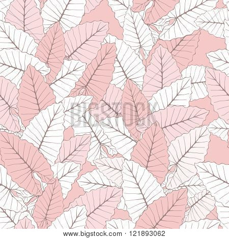 Stylish Foliage Seamless Background. Floral Vector Pattern with exotic leaves. Rose Quartz Tint Ornament.