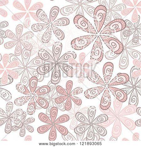 Stylish Flowers Seamless Background. Floral Vector Pattern. Rose Quartz Tint Ornament.