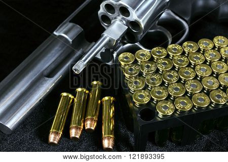 Revolver gun with Open Cylinder and Ammo Cartridges