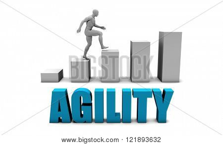 Agility 3D Concept  in Blue with Bar Chart Graph
