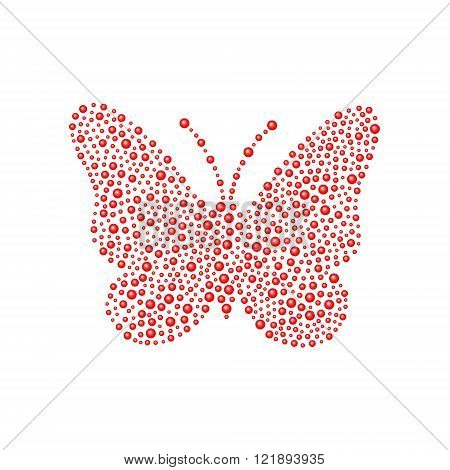 Butterfly in red design on white background