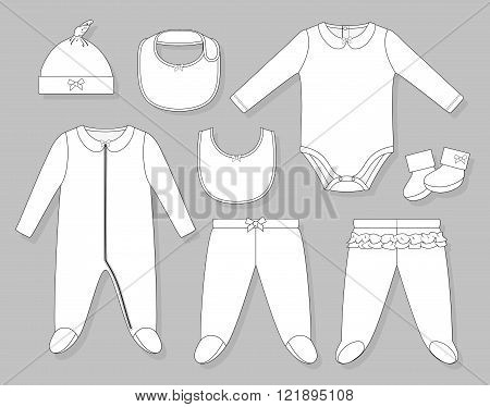 baby girl clothes set flat sketch isolated on grey background