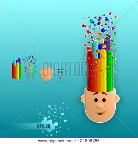 head emits joy and colorful rainbow with bubbles