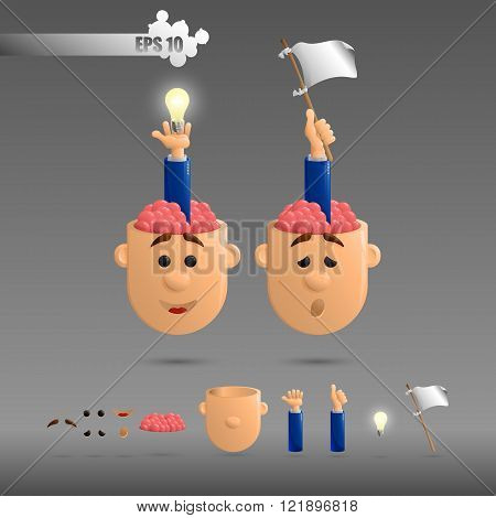two heads with open brain with protruding arms with a bulb and a white flag