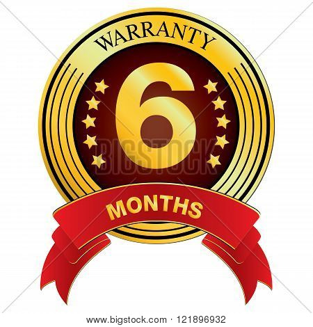 Warranty for Six Month isolated on white background. Vector Warranty for Months.