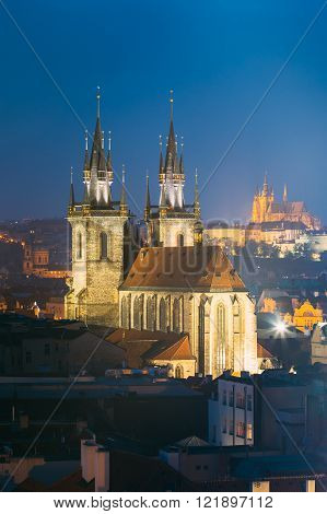 Night cityscape of Prague, Czech Republic. Church Of Our Lady Be