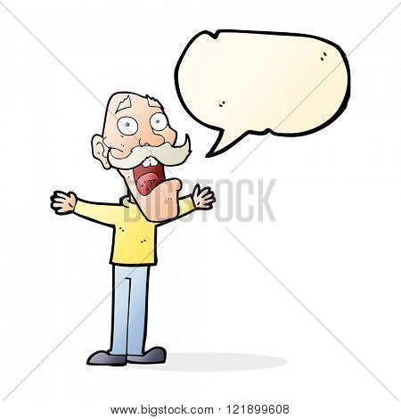 cartoon stressed old man with speech bubble