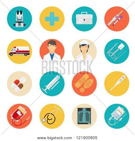 Medical tools and health care icons