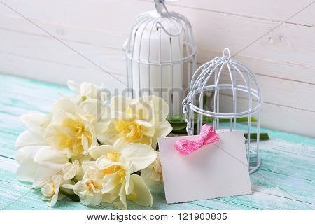 Spring flowers tag and candles in decorative bird cages on turquoise painted planks. Selective focus is on tag. Place for text.
