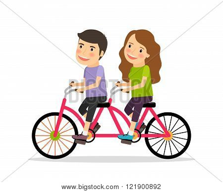 Couple riding tandem bicycle