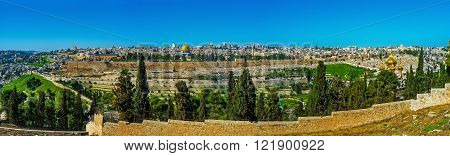 The exciting panoramic view on Jerusalem walls and roofs from the viewpoint at the Church of Dominus Flevit on the Mount of Olives Israel.