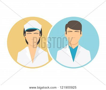 Medical clinic staff flat icons