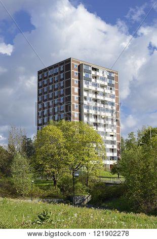 Modern apartment buildings in new neighborhood .