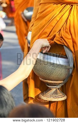 Chonburi CITY East Thailand December 26 2014 : They are thai monks. 