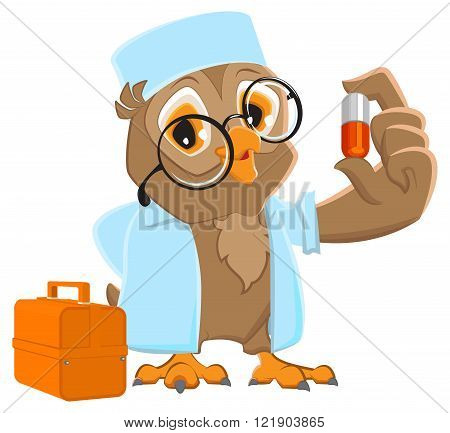 Owl doctor holding pill. Owl Ambulance in white coat
