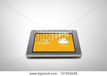 summer, technology, weather cast and modern gadget concept - close up of tablet pc computer with meteo forecast over gray background