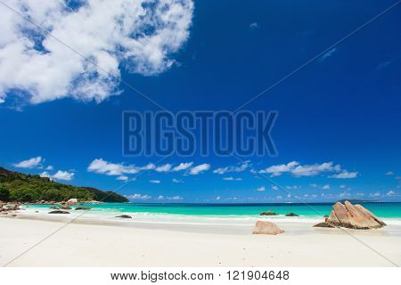 Picturesque Anse Lazio the best beach on tropical Praslin island in Seychelles
