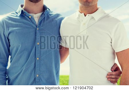 people, homosexuality, same-sex marriage, gay and love concept - close up of happy male gay couple hugging over blue sky and grass background