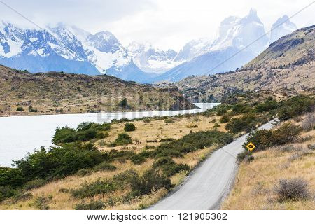 beautiful view at lake pehoe and cuernos del paine in torres del paine national park patagonia chile