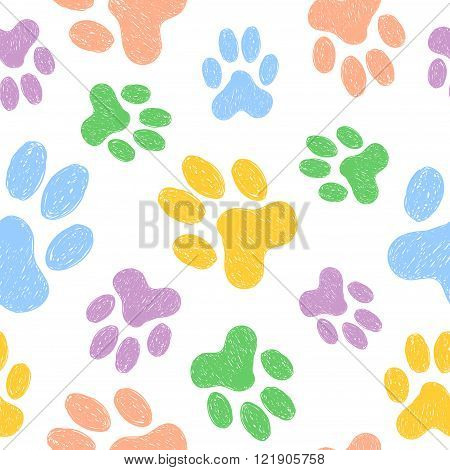 Seamless pattern with doodle dog paws. Colorful animal print. Vector background.