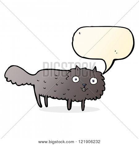 cartoon furry cat with speech bubble