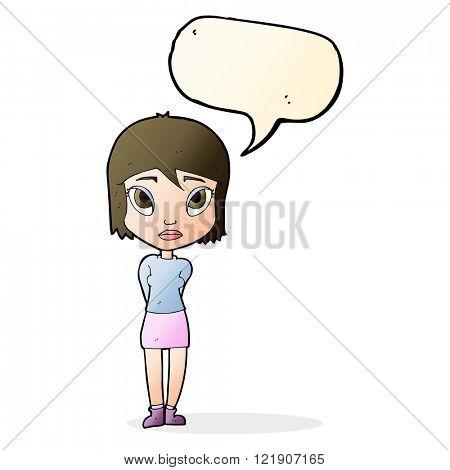 cartoon shy girl with speech bubble