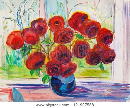 Sunny day. bouquet of red roses on window sill