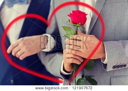 people, homosexuality, same-sex marriage, valentines day and love concept - close up of happy male gay couple with red rose flower holding hands on wedding with red heart shape
