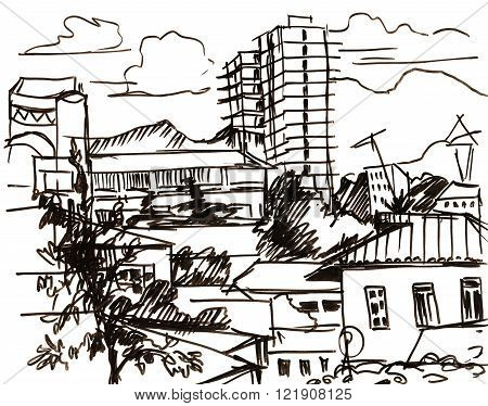 instant sketch view to city from window
