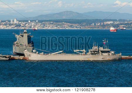 Valparaiso Chile - December 3 2012: Fleet Support Ship Montes Azules at port Valparaiso Chile at December 3 2012.