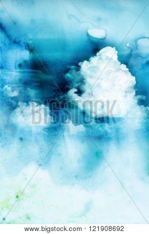 Abstract watercolor illustration of raincloud. Watercolor illustration of sky. Abstract background.