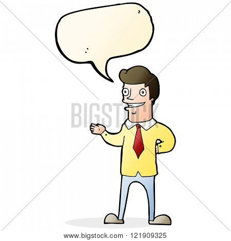 cartoon salesman with speech bubble