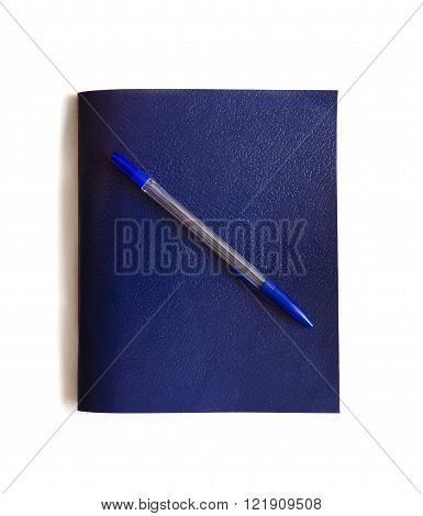 Notebook and pen. Schoolchild and student studies accessories. Back to school concept.