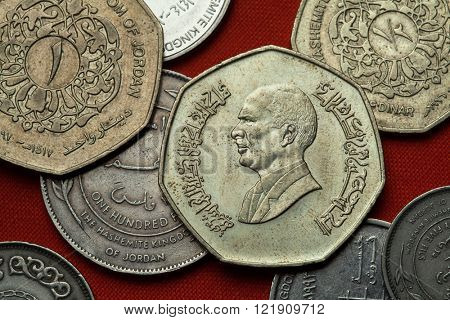 Coins of Jordan. King Hussein bin Talal of Jordan depicted in the Jordanian one dinar coin.