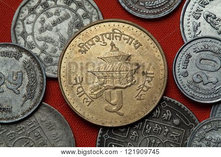 Coins of Nepal. Pashupatinath Temple in Kathmandu, Nepal depicted in the Nepalese five rupee coin.