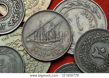 Coins of Kuwait. Traditional Kuwaiti sailing vessel (dhow) called boom depicted in the Kuwaiti 100 fils coin.
