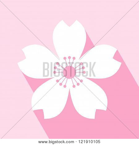 Cherry blossom icon. Sakura icon. All in a single layer. Vector illustration. Elements for design. EPS 10 vector illustration for design. Cherry blossom icon on pink background. Cherry blossom Icon Icon with Long Shadow.