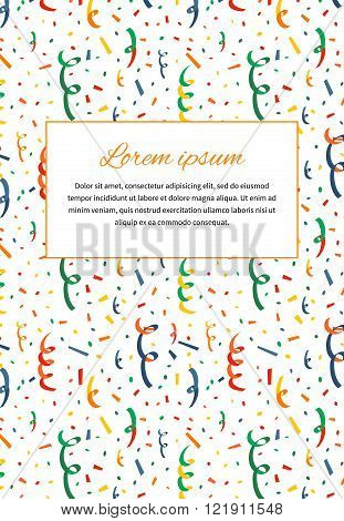 Card cover with exploding party popper and text template a4 size vertical illustration