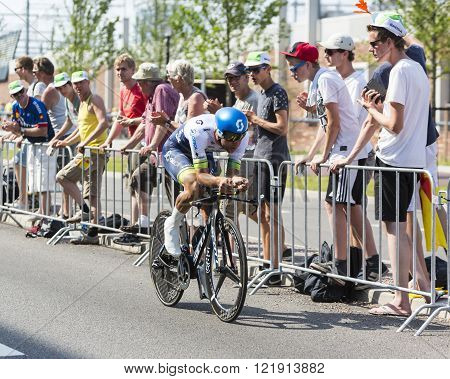 UtrechtNetherlands - 04 July 2015: The Australian cyclist Michael Matthews of Orica-GreenEDGE Team riding during the first stage (individual time trial ) of Le Tour de France 2015 in Utrecht Netherlands on 04 July 2015.