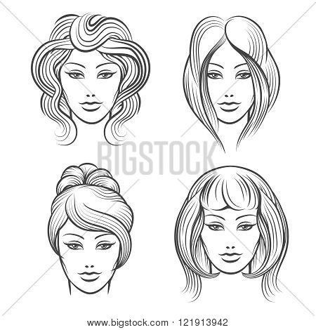 Womens faces line icons. Female heads with different hairstyles. Vector illustration