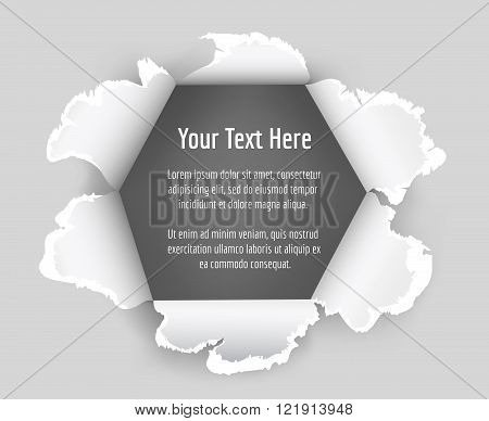 Paper hole vector. Hole in sheet of paper with a space for text. Torn paper vector illustration