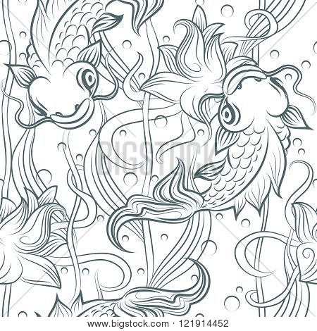 Koi fish seamless pattern