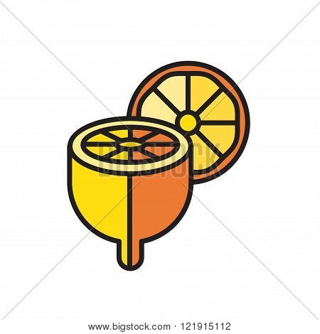 color icon cut lemon isolated